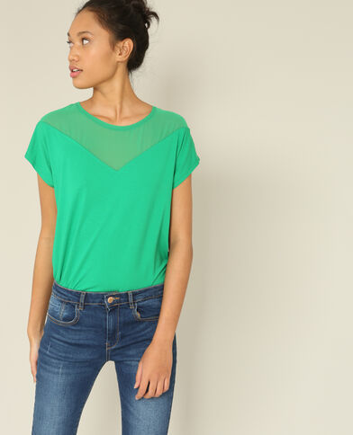 T-shirt bimateriale verde