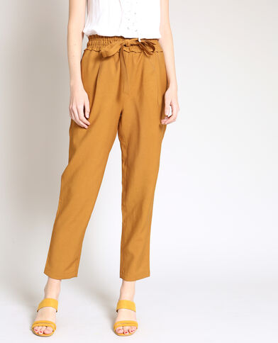 Pantalone morbido cammello