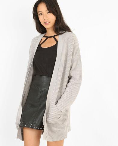 Cardigan lungo con lembi grigio chiné