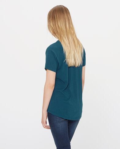 T-shirt ricamata blu petrolio