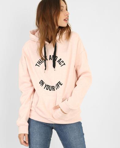 Felpa con cappuccio rosa cipria