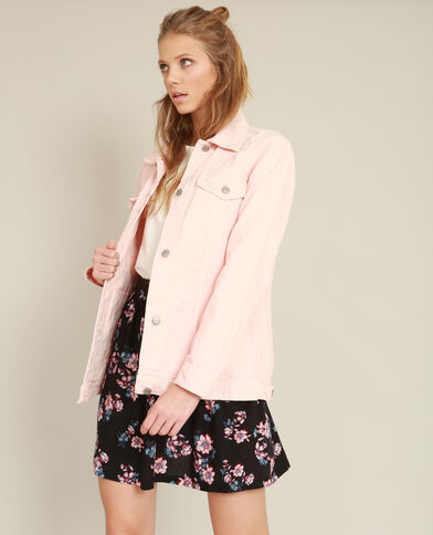 Giacca in jeans oversize rosa cipria