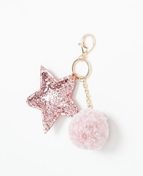Portachiavi pompon e stelle rosa