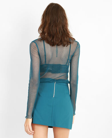 T-shirt reticella nera blu petrolio