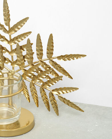 Candeliere foglia di palma dorato