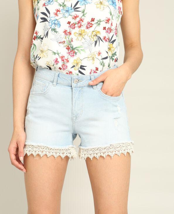 Short in jeans pizzo blu cielo
