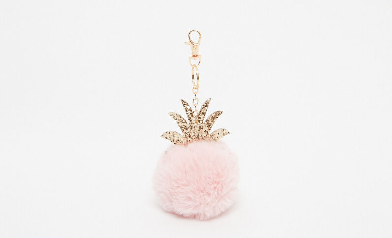 Portachiavi pompon ananas rosa