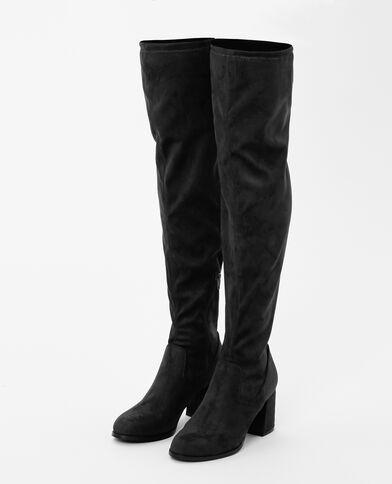 Stivali a mezza coscia effetto pelle scamosciata con i tacchi nero