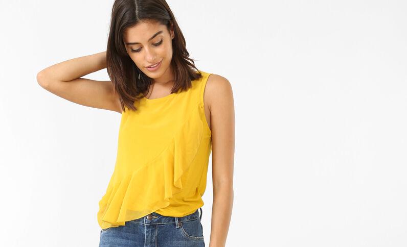 Top con volant giallo
