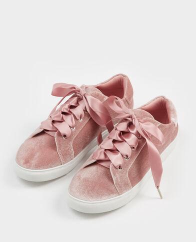Scarpe da basket con lacci satinati rosa cipria