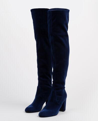 Stivali a mezza coscia in velluto blu