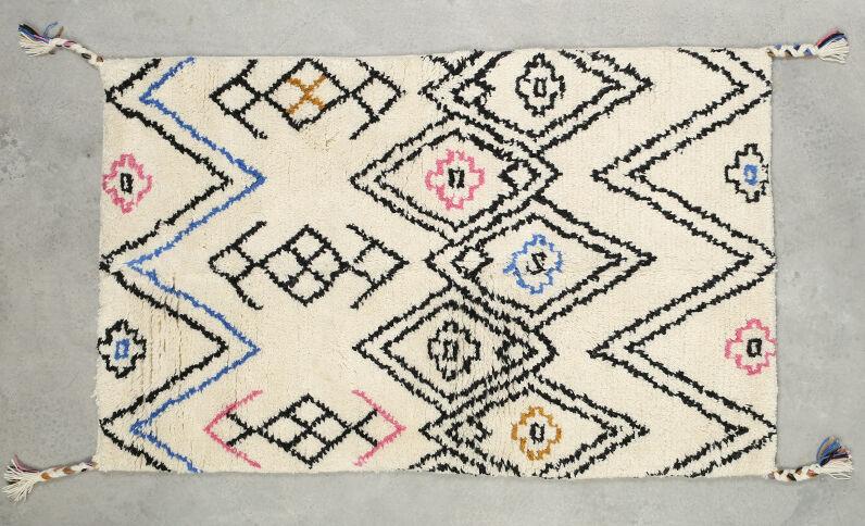 Tappeto berbero multicolore écru