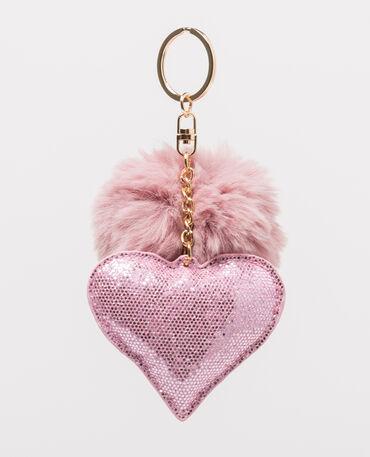 Portachiavi pompon e cuore rosa