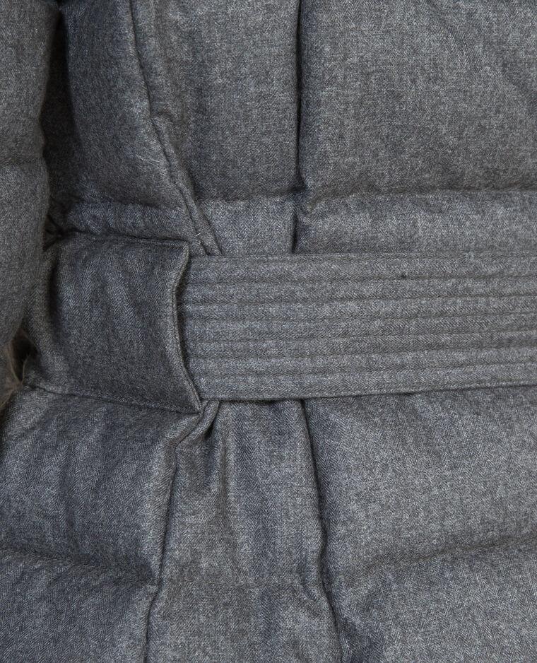 Piumino lungo in piuma grigio chiné