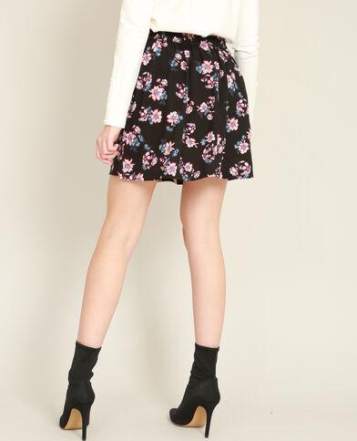 Minigonna a fiori nero