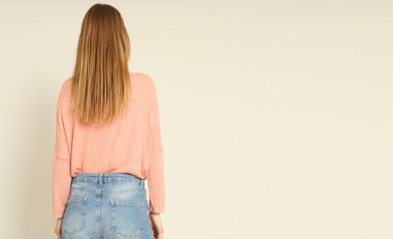 T-shirt maniche a pipistrello rosa cipria