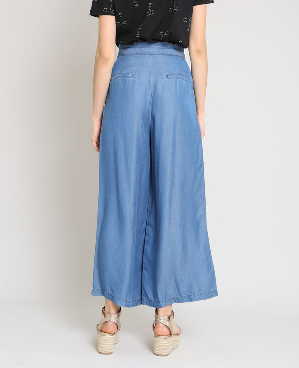 Pantalone morbido largo blu denim