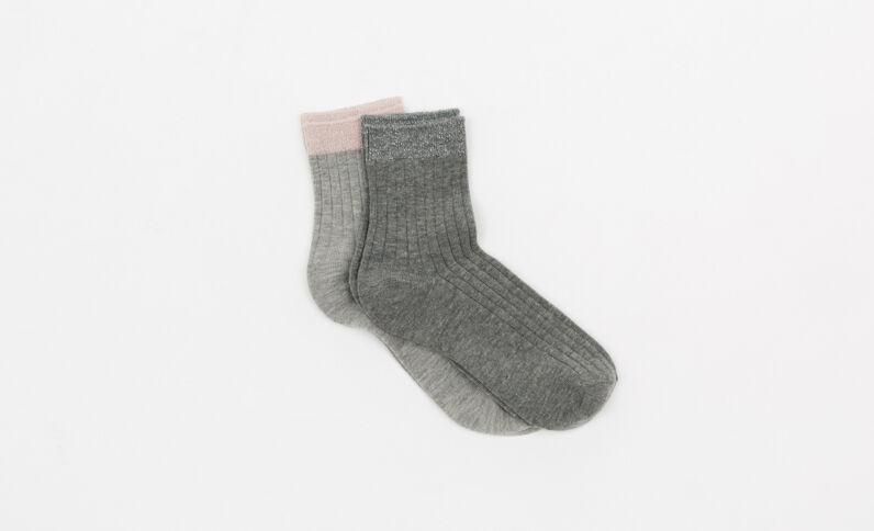 Lotto da 2 paia di calze grigio