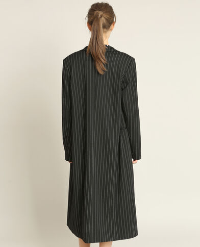 Cappotto lungo a righe nero