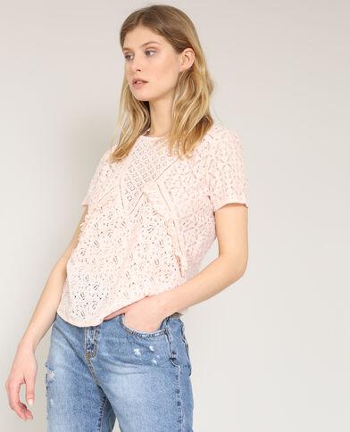 T-shirt in pizzo rosa