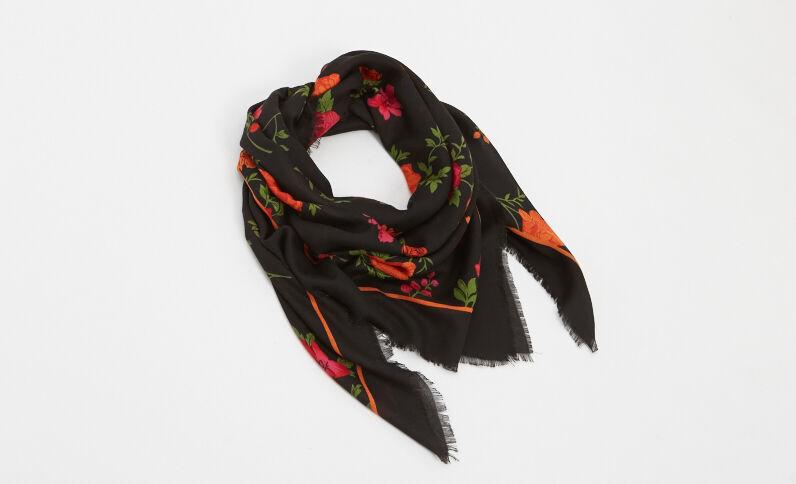 Foulard stampato a fiori nero