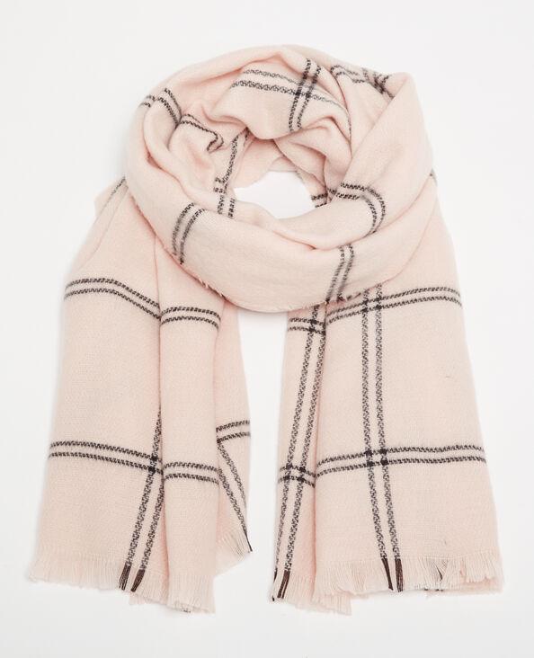 Sciarpa calda a quadri rosa cipria