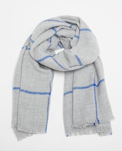 Grande sciarpa a quadri grigio