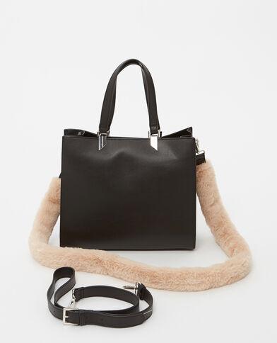 Borsa shopping con pelliccia ecologica beige