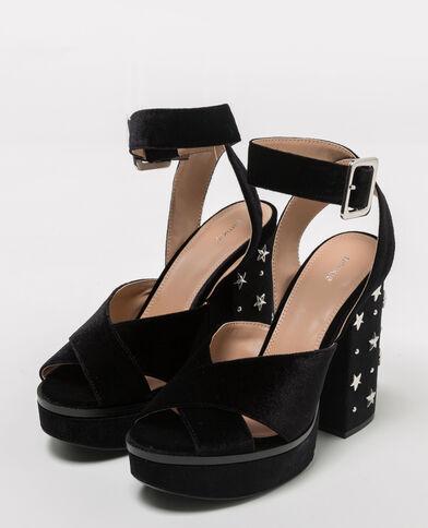 Sandali con plateau velluto con borchie nero