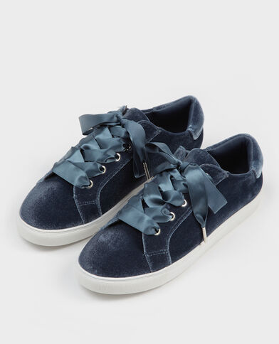 Scarpe da basket con lacci satinati blu