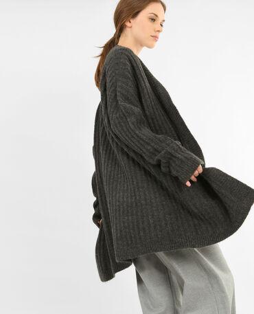 Cardigan in maglia a coste grigio