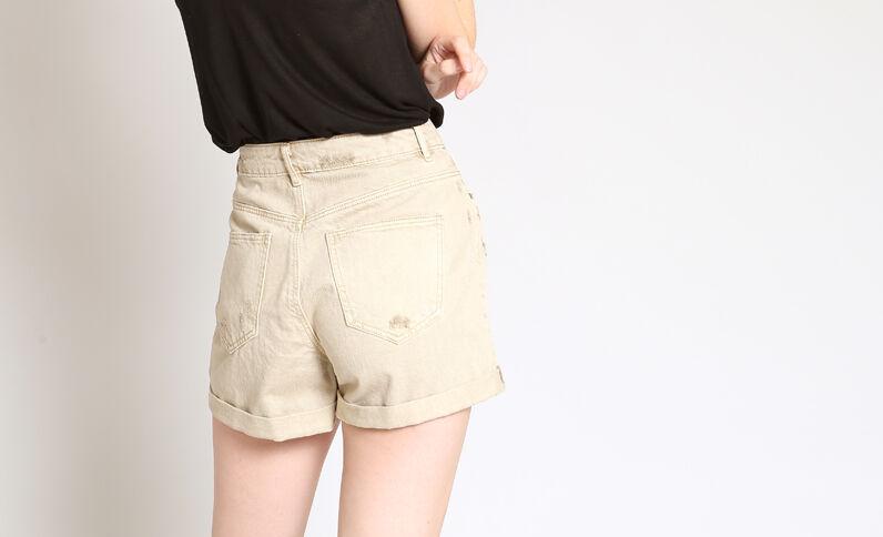 Short in jeans destroy beige