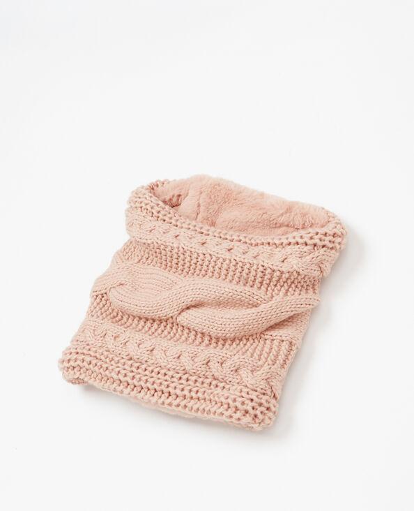 Collo tricoté e pelliccia ecologica rosa