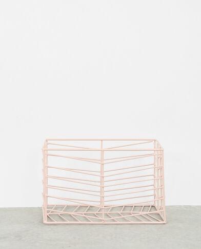 Piccolo cesto effetto grigliato rosa