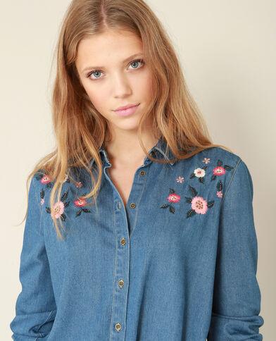 Camicia con ricami blu denim