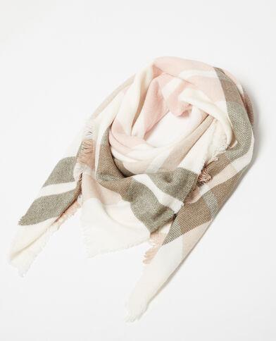 Grande sciarpa a quadri bianco
