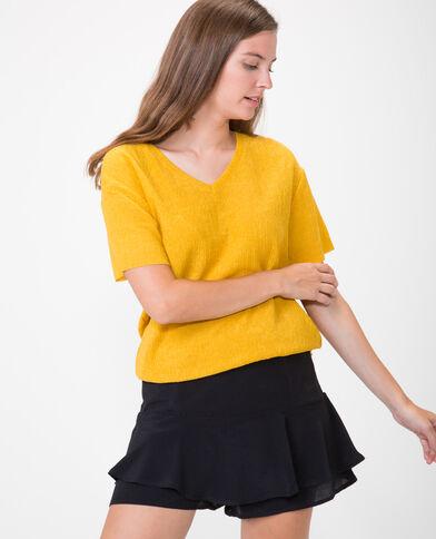 T-shirt con texture giallo mostarda