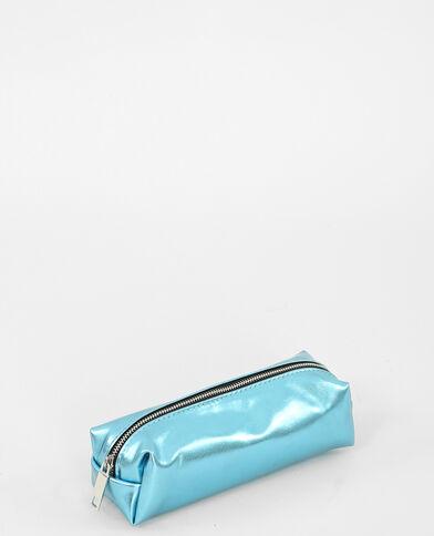 Trousse metallizzata acquamarina