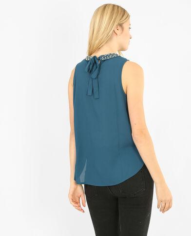 Blusa collo gioiello blu petrolio