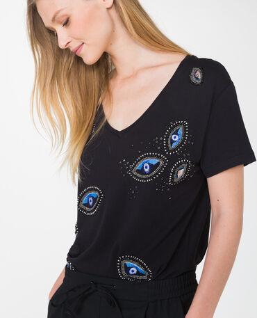 T-shirt con ricami nero