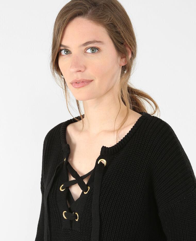 Pull in maglia con lacci nero