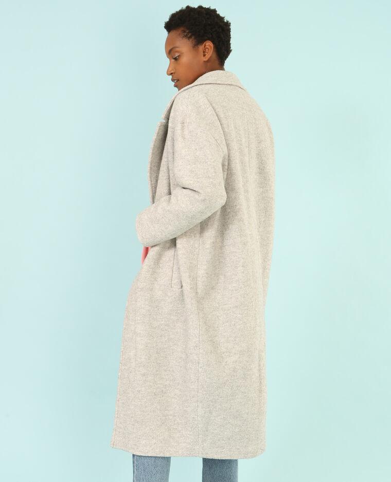 Cappotto lungo in lana mélange grigio chiné