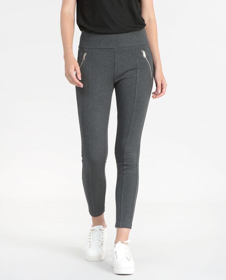 Treggings con zip grigio antracite