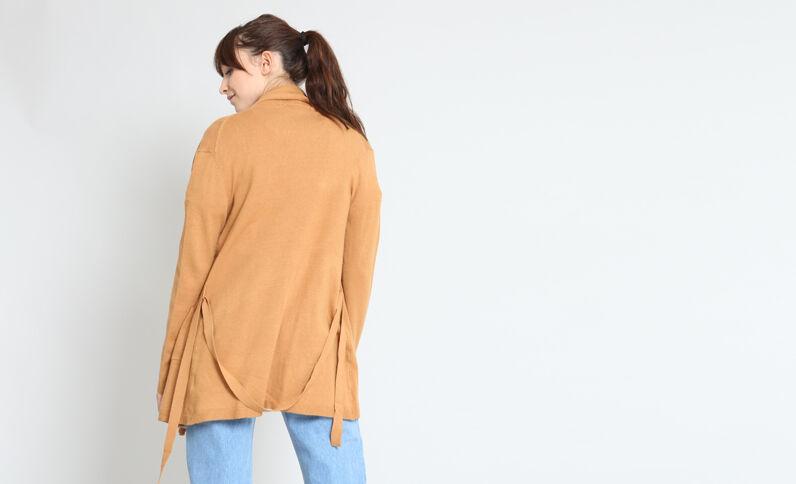 Cardigan con cintura cammello