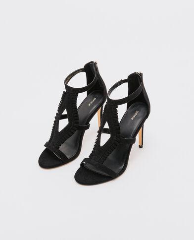Sandali gambale alto con volant nero