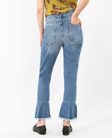 Jeans dritto con volant blu denim
