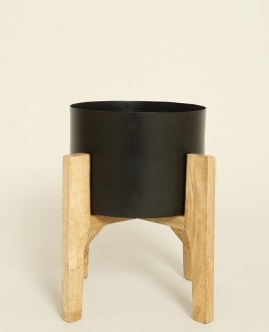 Grande vaso con gambe in legno nero