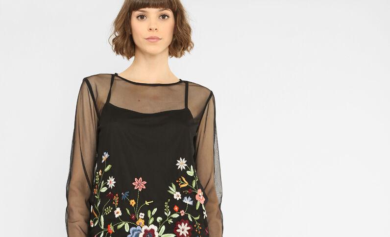 T-shirt reticella ricamata nero