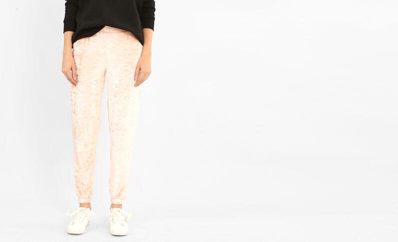 Pantalone da jogging effetto velluto rosa