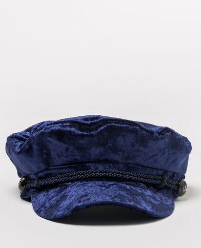 Cappellino blu marino velluto blu